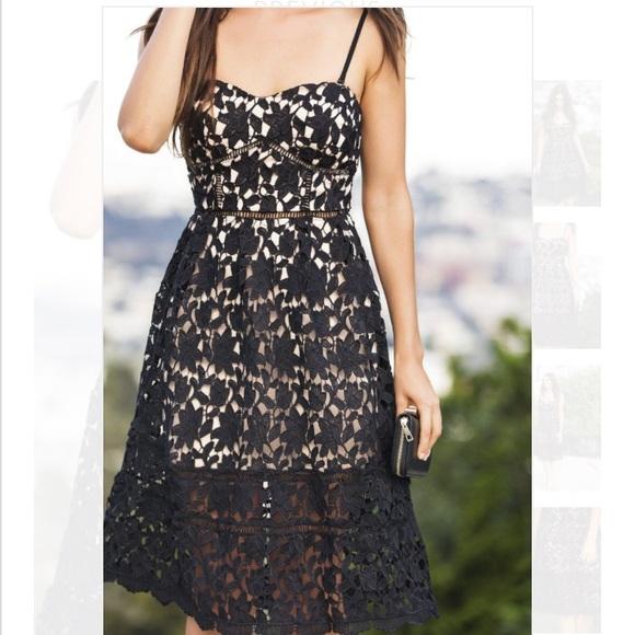 Morning Lavender Dresses Chloe Black Lace Midi Dress Size Medium